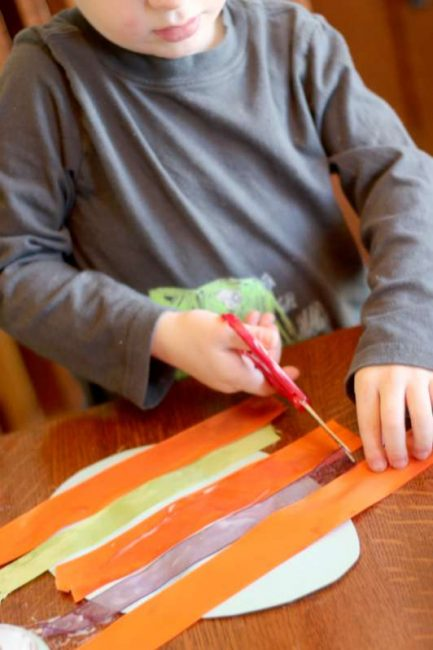 Measure and cut ribbon for Easter egg craft