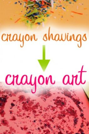Melted Crayon Art with crayon shavings