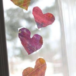 Watercolor Newsprint Hearts - 1 of the 21 Valentine Crafts for Preschoolers