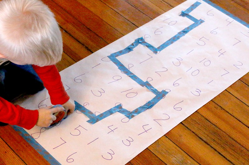 Follow the number through the maze with tape