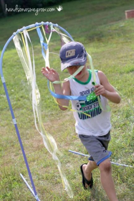 Fun finish line in a obstacle course for kids