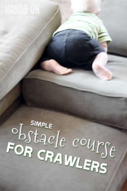 If you have a crawling baby that is constantly on the move than this super simple obstacle course is for you! Build that fine motor and have fun together.
