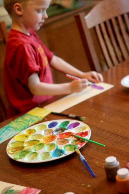 Paint swatches -- Mixing colors for kids to see the different shades of just two colors!