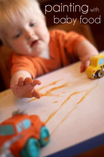 Painting with baby food - great sensory for babies!