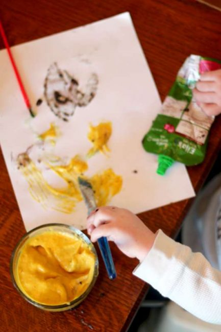 Painting with edible paint that's for babies