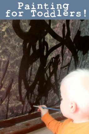 Painting with water is an easy starter painting activity, great for toddlers