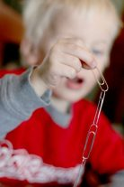Quick paper clip craft for the kids to make is a simple paper clip chain - hooking the paper clips together is great for fine motor!