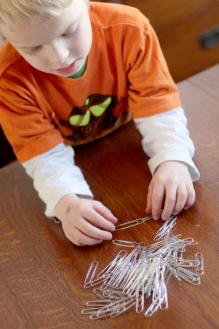 Paper clips are a great fine motor activity