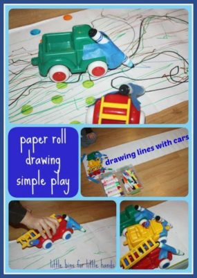 Paper Roll Drawing With Cars from Little bins for little hands