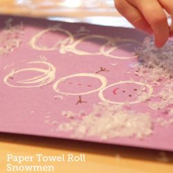Toilet Paper Roll Stamped Snowman Craft