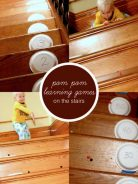 Pom pom learning games on the stairs