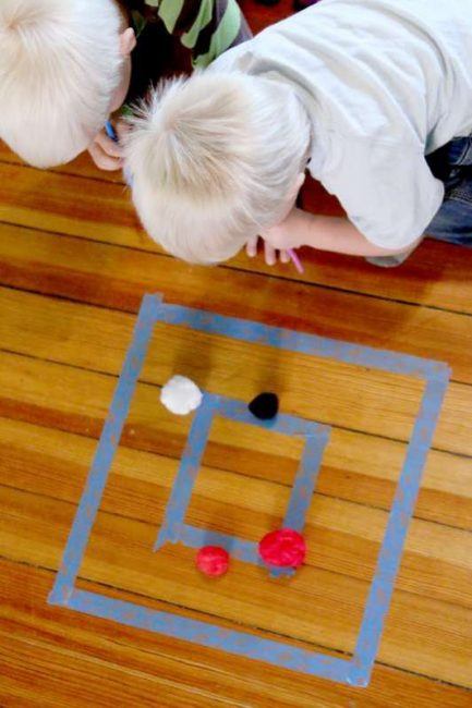 Pom pom target practice for toddlers and preschoolers