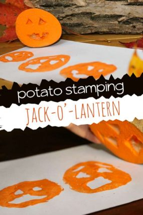 Potato Stamping Jack-O'-Lantern Faces
