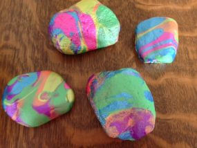Pour painted rocks