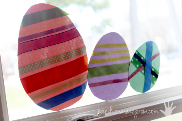 Easter egg craft hanging in the window