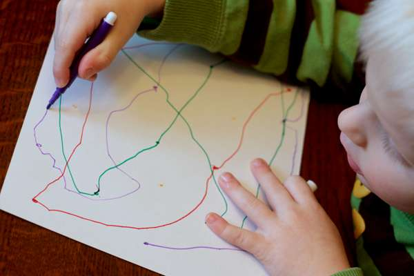 Color version of a simple connect the dots for preschoolers - just connect the same colored dots!