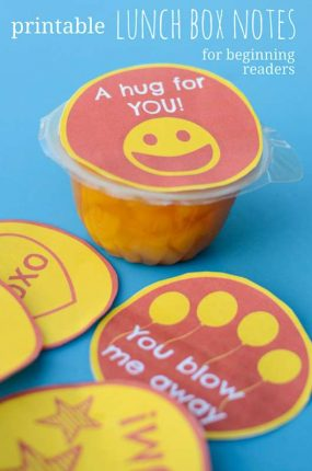 Printable Lunch Box Notes for Beginning Readers