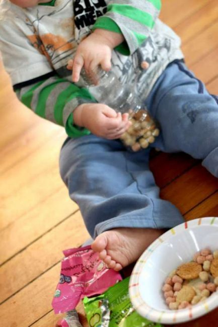 Young toddlers and even older babies can make their own sensory bottle to play with. Its all edible so completely safe for young ones to be making it!