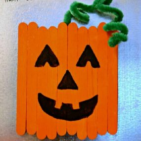 Craft Stick Pumpkin Magnet From This Girls Life