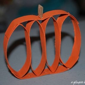 Paper Towel Tube Pumpkin Craft from A Glimpse Inside