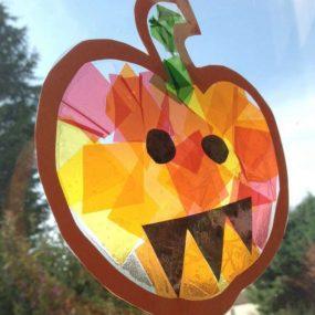 Pumpkin Suncatcher Craft from Crafts on Sea