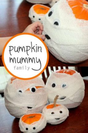 Make pumpkin mummies