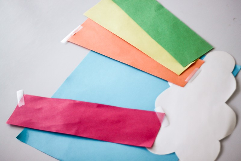 Make a rainbow after finding each clue on the rainbow scavenger hunt