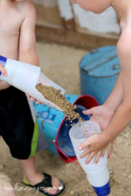 Make a simple sand scoop and funnel [works for water too]
