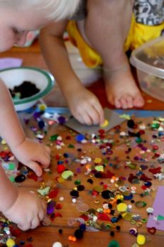 Sensory art project on contact paper for kids