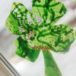 Easy shamrocks for toddlers to make to hang in the window