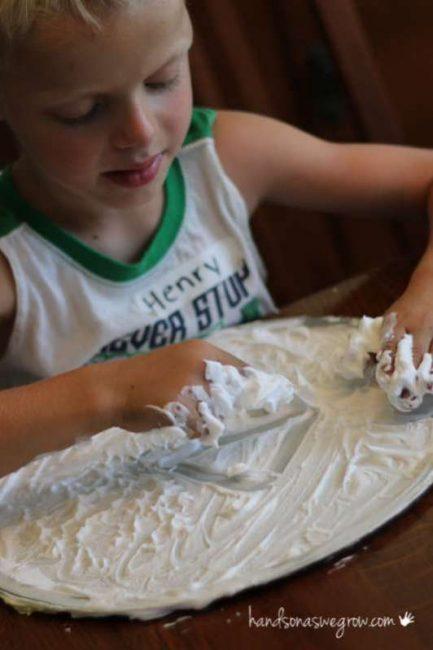 Shaving cream activity - drawing shapes
