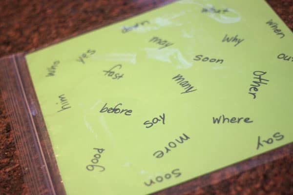 Sight words to find in an I Spy Sensory Bag