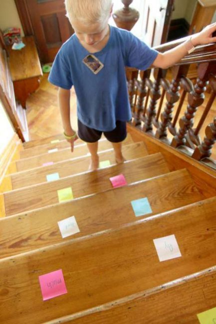 What are the sight words? Sight word practice on the stairs!