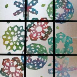 Paper Towel Rainbow Snowflakes