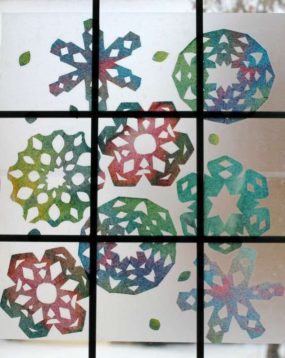 Rainbow Snowflake Window Art from Twodaloo