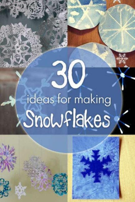 30 ideas to make a snowflake, ideas for materials to cut them out of plus snowflake craft ideas!