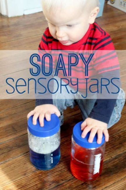 Soapy sensory jars activity for toddlers - fun to shake up and watch!