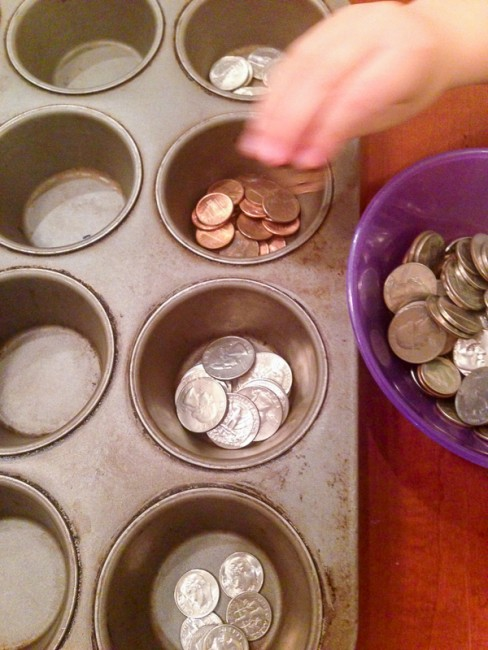 Sorting coins - 3 easy money activities for 2 to 6 year olds