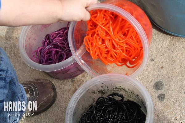 Colored spaghetti sensory activity