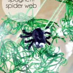Spaghetti Spider Web Craft for Halloween