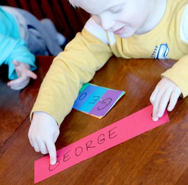 He's learning to spell his name!