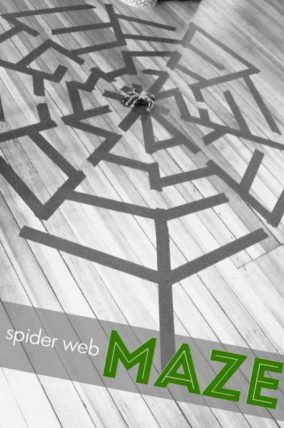 Spider web maze to make for the kids to find their way through