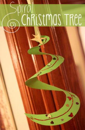 Spiral Christmas tree craft for kids to hang up!