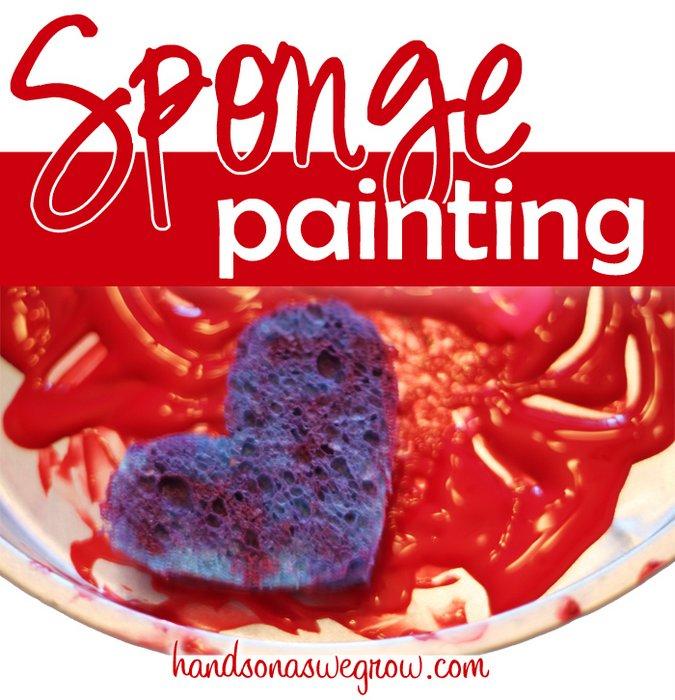 Kids Sponge Art for Valentine's Day