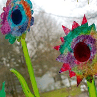 Coffee Filter Window Flowers