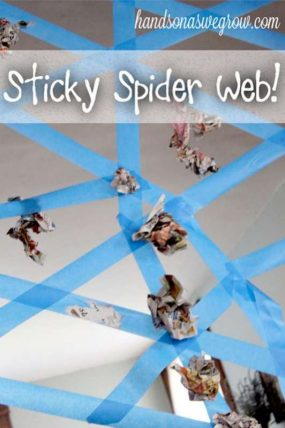 A sticky spider web activity - a perfect gross motor activity for Halloween!