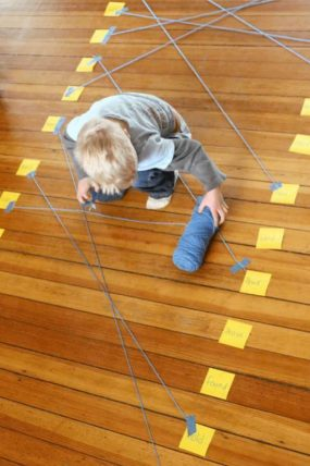 Connect matching pairs of sight words (or letters, numbers, whatever) with string on the floor