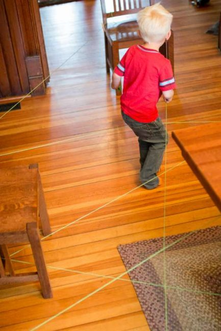 An indoor obstacle course or scavenger hunt to find the letters of their name