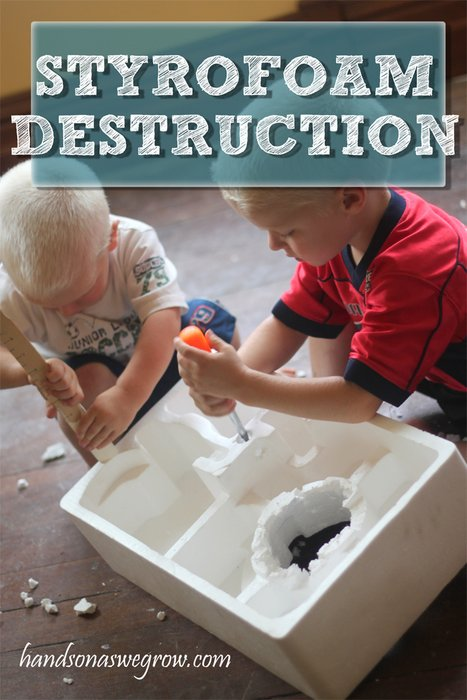Stryofoam Destruction Busy Play Activity
