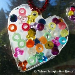 Glue Heart Suncatcher Valentine Craft